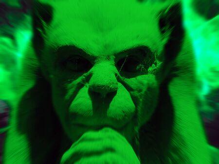 gargouille: Photographie de pierre gargouille figure avec effet de zoom et de couleur verte Banque d'images
