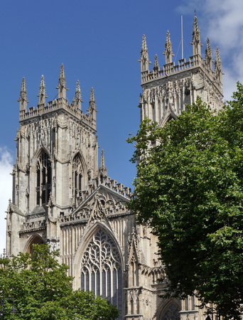 minster: Upright view of the Towers of York Minster. York, North Yorkshire, UK. Stock Photo