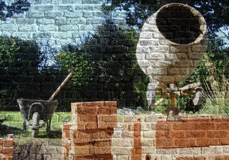 wheel barrow: Section of old brick wall overlaid with construction image