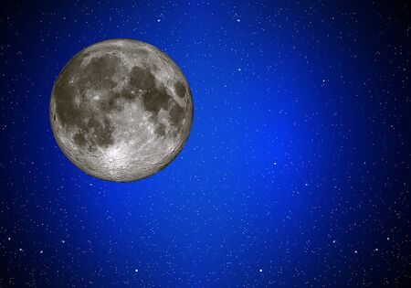 stellar: Illustration of night sky with simulated simulated full moon