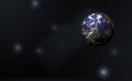 the computer generated: Computer generated illustration of planet and stars