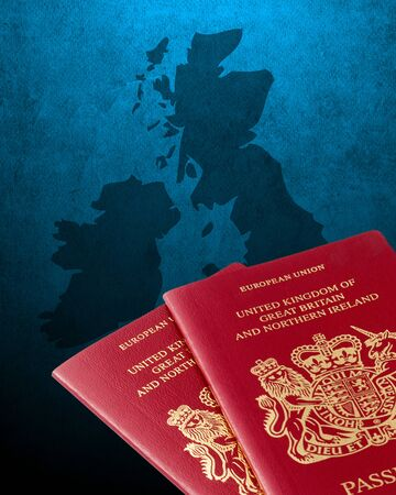 eire: Outline map of UK and Ireland with British passports Stock Photo