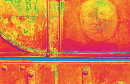 side effect: Side of old railway carriage with over saturated colors for effect.