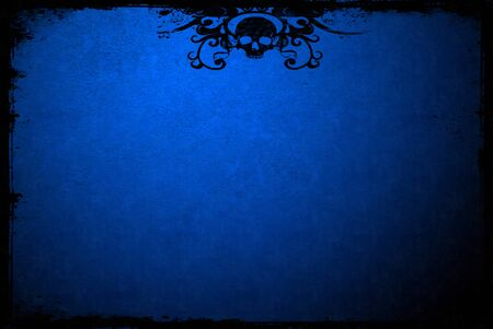 edges: Blue textured surface with grunge edges and skull pattern Stock Photo