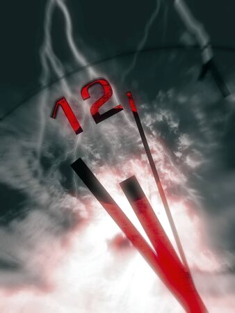 ominous: Clock hands with ominous sky with lightning strikes and red color splash