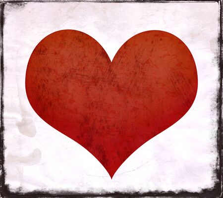 edges: Red heart shape on textured background with grunge edges