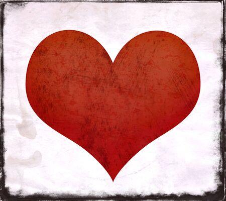 Rood hart vorm op een gestructureerde achtergrond met grunge randen Stockfoto