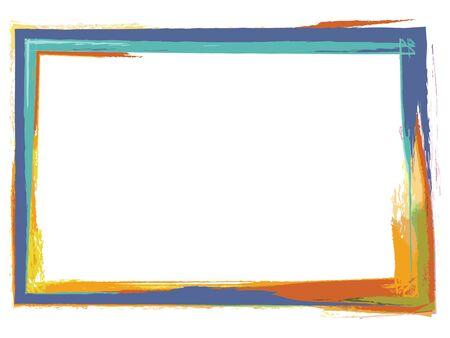 Grunge type photo frame using paint brush colors Фото со стока