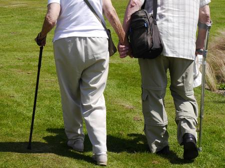 pareja de ancianos caminando en campo