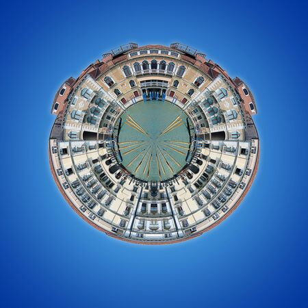Small planet effect applied to buildings on Venus Grand Canal Stock Photo