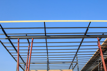 framing: New home construction framing Stock Photo