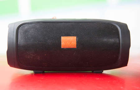 Black mini speaker for portable everywhere, is a man-made technology and can be developed to unlimited.