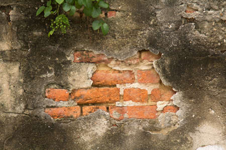 The ancient cement walls constructed of red bricks are cracked, patterned, mottled and dirty over time. Фото со стока