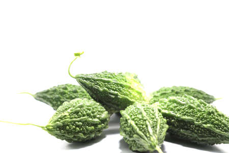 Bitter gourd, rough, green, organic, edible and herbal, with a bitter taste on a white background. 免版税图像