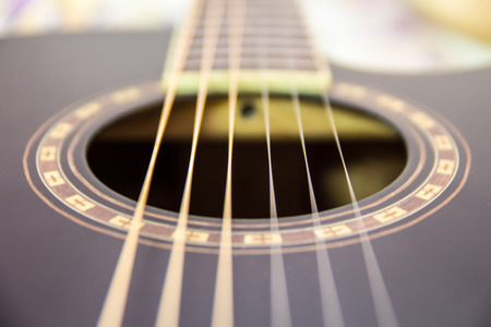 fingerboard: These are strings of guitar those are stretched on guitar. Stock Photo