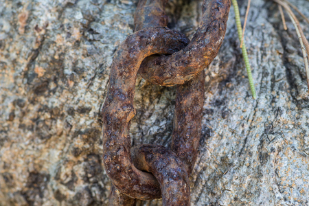 rust: This is a rust chain around the tree because the wind for ocean It is rust. Stock Photo