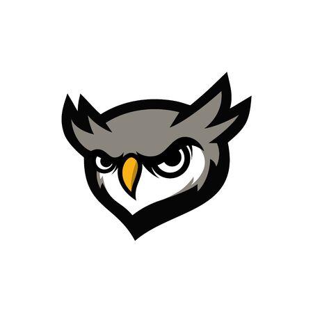 owl head mascot icon with sharp eyes vector illustration