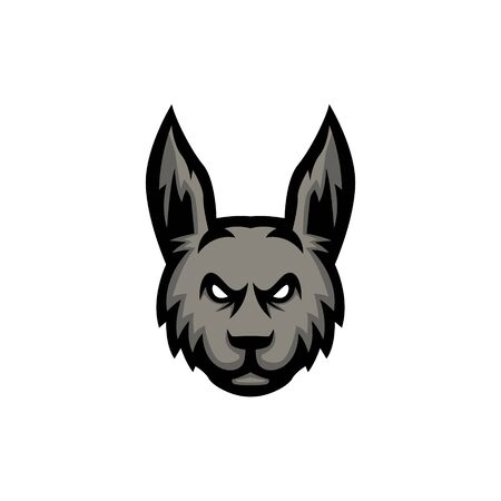 rabbit head mascot icon vector illustration, feathered in gray, suitable for the sports team mascot icon and e sports team