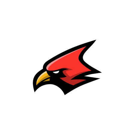 Red cardinal bird icon head vector illustration, suitable for the sports team mascot icon and e sports team Vektorové ilustrace