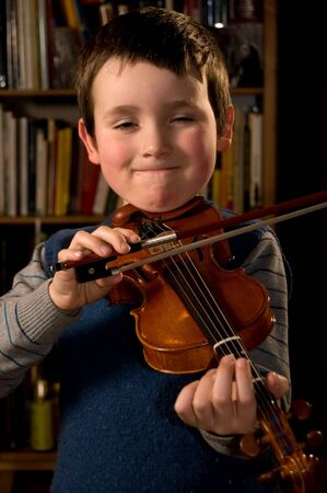 violins: boy playng violn