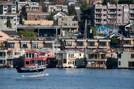 Floating plane taking off from Seattles Lake Union