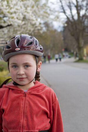 bicycle helmet: girl in bicycle helmet