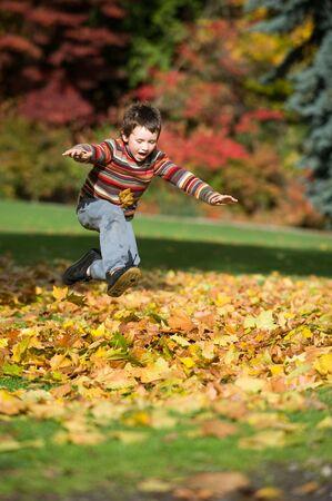 boy jumping: chico saltando en mont�n de hojas Foto de archivo