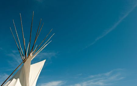 tepee: top of Tipi and blue sky Stock Photo
