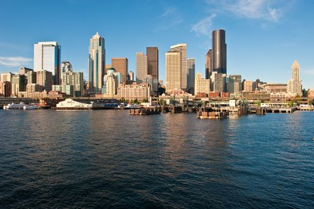 elliot: downtown seattle as seen from Elliot Bay Stock Photo