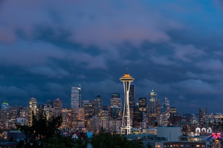 Space Needle and Seattle skyline, looking south