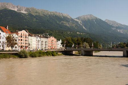 Salzburg river, Austria, near the love lock Bridge Stock Photo