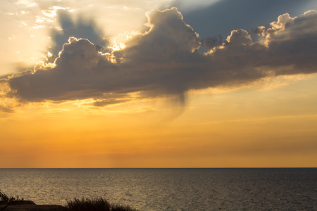 Cloudy sunset in the beach of Ashkelon, Israel