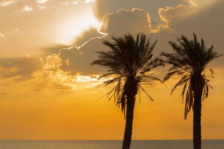Nuvoloso tramonto sulla spiaggia di Ashkelon, Israele