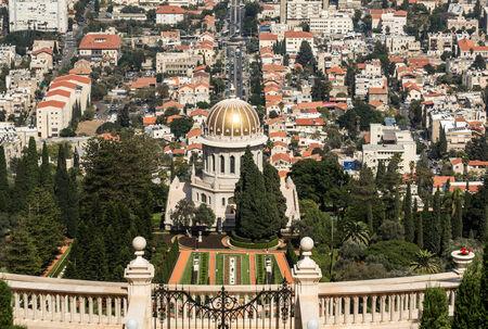 Bahai gardens on the slopes of the Carmel Mountain, Haifa city and harbor, Israel photo