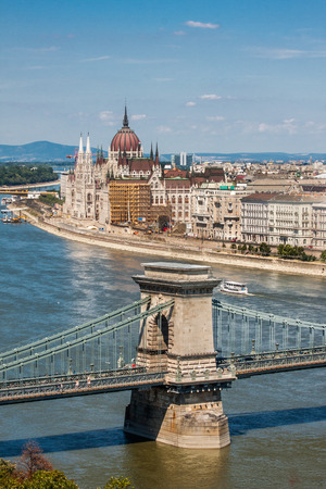 Parliamentand and the chain bridge, Budapest  Hungary,