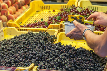 Selling Raspberry in in fruit stand