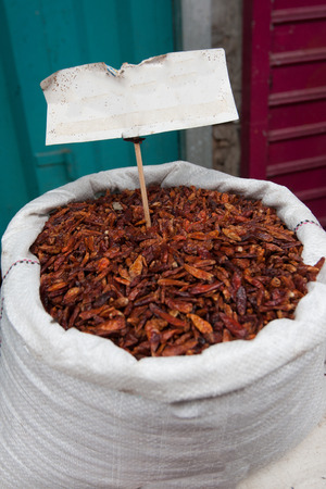 A sack of dried red hot chilli pepper