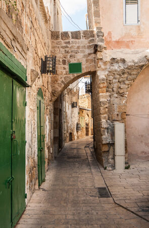 akko: A narrow alley in Akko (Acre), Israel
