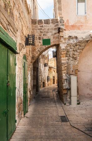 A narrow alley in Akko (Acre), Israel