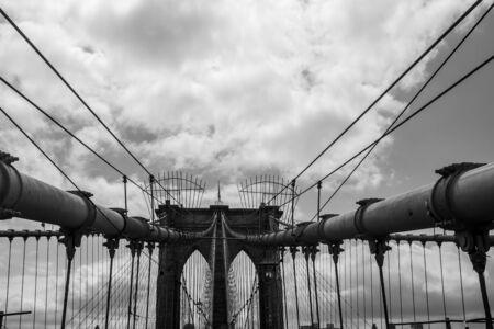 Brooklyn Bridge, bottom up view cloudy day