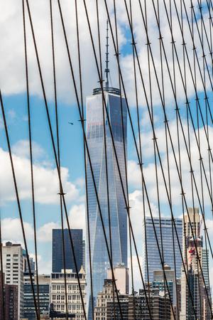 view of Lower Manhattan, from Brooklyn Bridge NYC