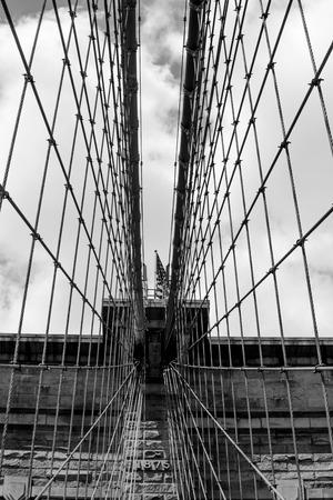 Net of suspension cables on Brooklyn Bridge, Manhattnan New York, black&white
