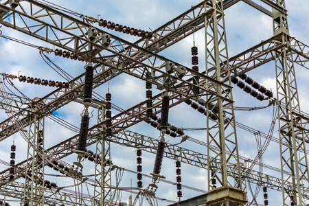 electrical substation under a cloudy sky