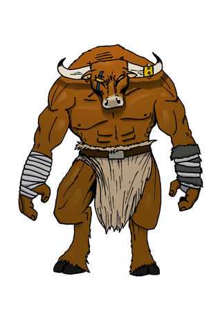 drawing of a minotaur isolated on white in color