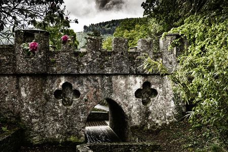 The Horn Bridge is Gothic style bridge built around 1780, located at Tollymore Forest Park, County Down, Northern Ireland