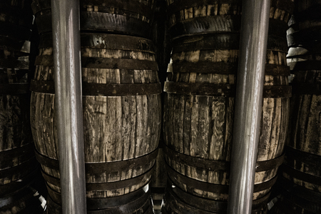 old wooden barrels for whiskey or wine Stock Photo