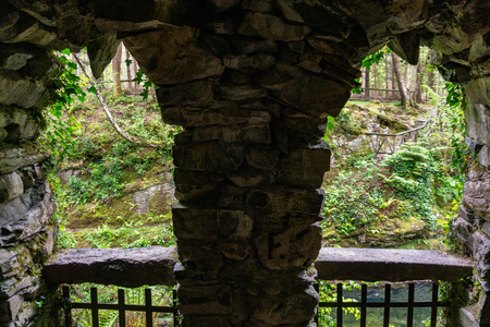stone window in Tollymore Forest Park