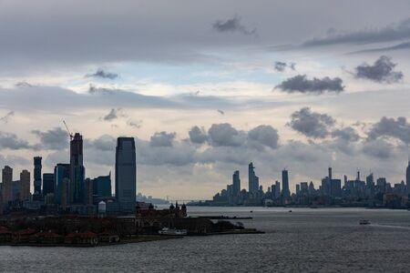 Ellis Island & Downtown Manhattan, New York Stock Photo