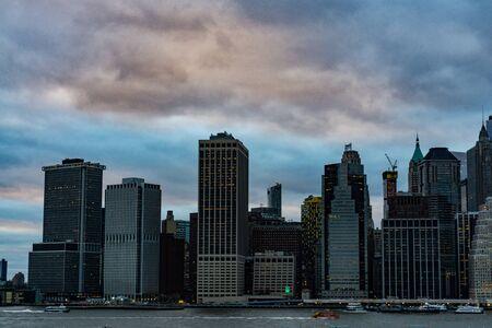 Lower Manhattan urban skyscrapers in New York
