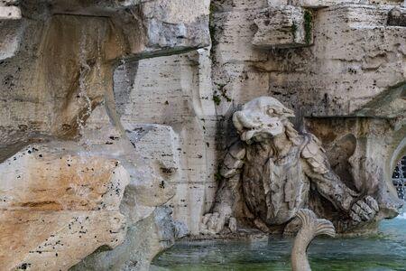 Detail of The Fountain of the Four Rivers(Fontana dei Quattro Fiumi) by Gian Lorenzo Bernini, 1653-1654, with Egyptian obelisk in Piazza Navona Square, Rome Stockfoto